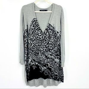 Lauren Vidal Gray/Black Geometric V-Line Tunic XL